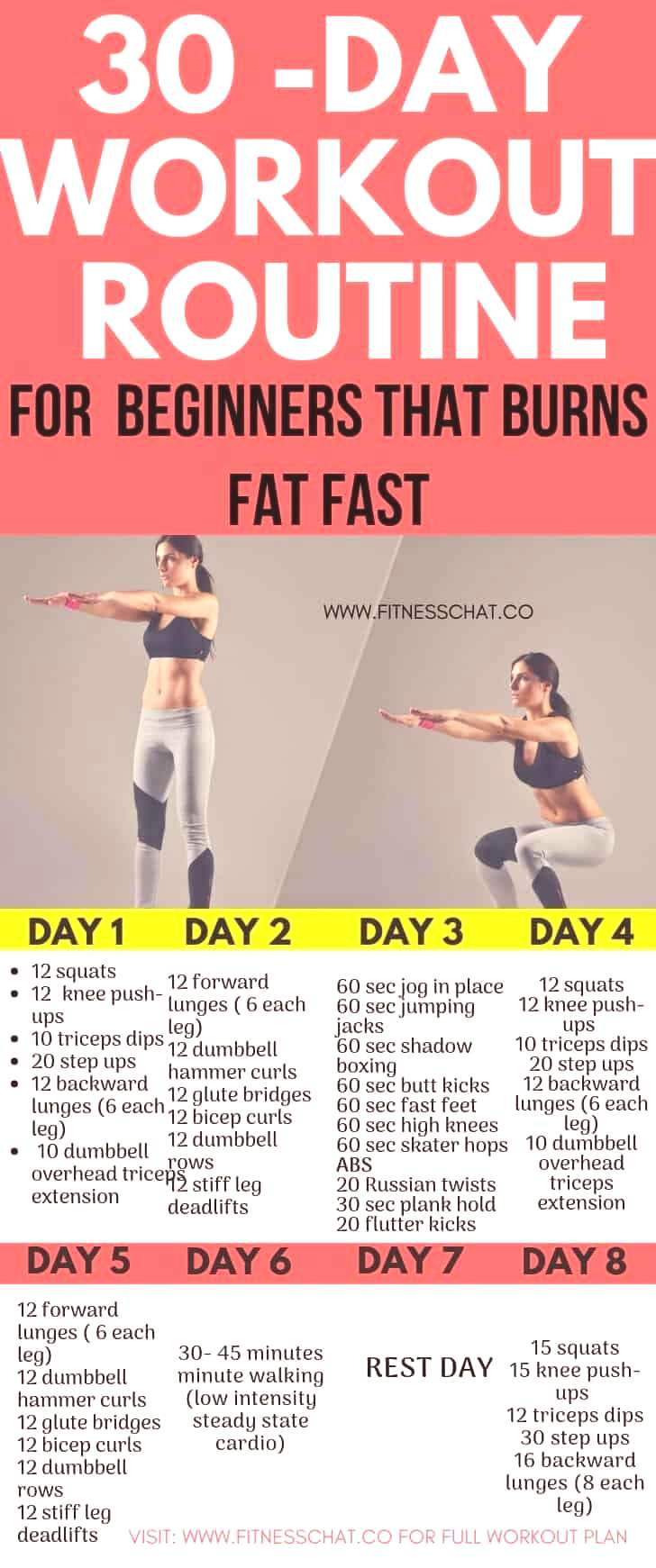 Lose weight fast with this 30-Day Fat Burning Workout Routines for Beginners. Join the 30 day chall